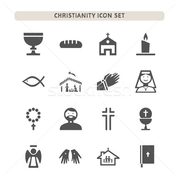Christianity icons set on white background Stock photo © Imaagio