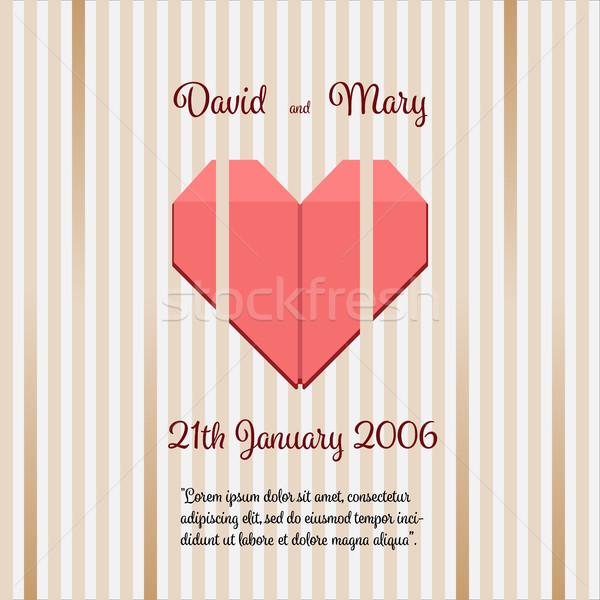 Hochzeitseinladung abstrakten Herz Zentrum Hochzeit Kunst Stock foto © Imaagio