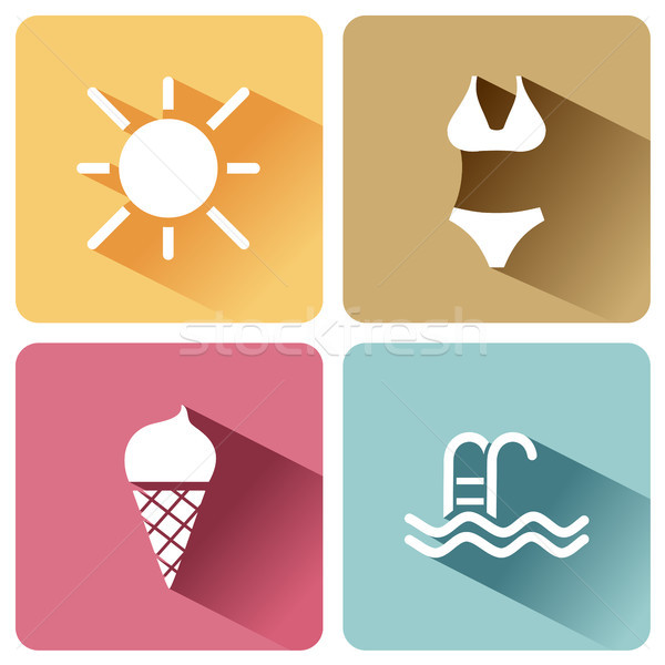 Four summer and tourism icons set with shade. Fourth group Stock photo © Imaagio
