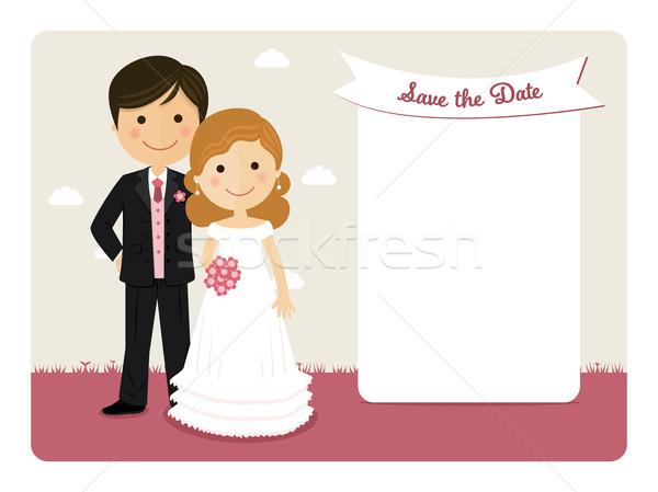 Karikatür düğün davetiyesi gülen çift düğün mutlu Stok fotoğraf © Imaagio