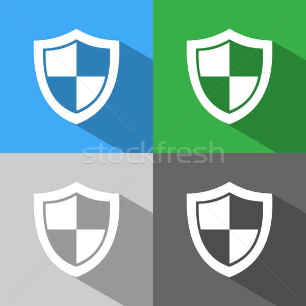 High security shield icon with shade on colored backgrounds Stock photo © Imaagio