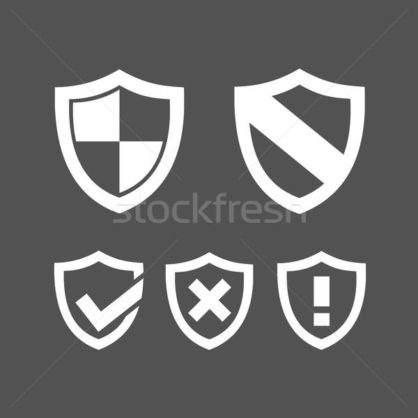 набор защиту щит иконки темно дизайна Сток-фото © Imaagio