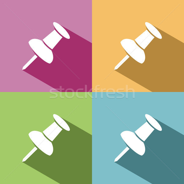 Stock photo: Pushpin icon with shade on colored background