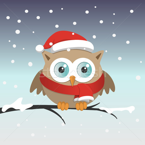 Male owl with Santa Claus hat on a branch in a sonwy day Stock photo © Imaagio