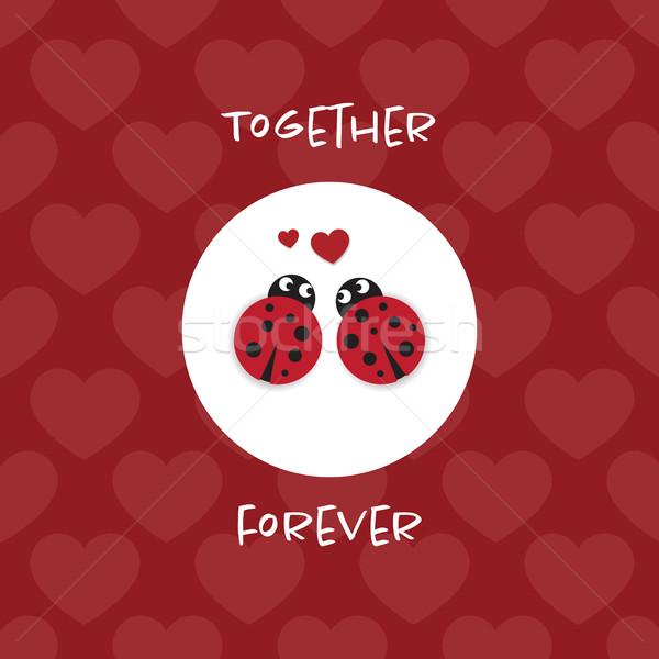 Együtt örökké kártya katicabogarak szívek szeretet Stock fotó © Imaagio