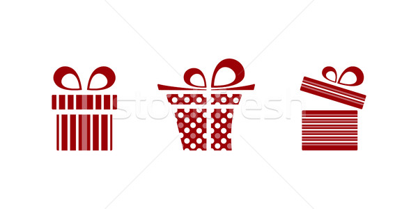Pink and red gifts icon set on white background Stock photo © Imaagio