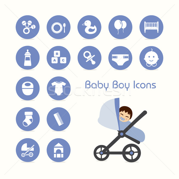 Baby boy on stroller and icons set Stock photo © Imaagio