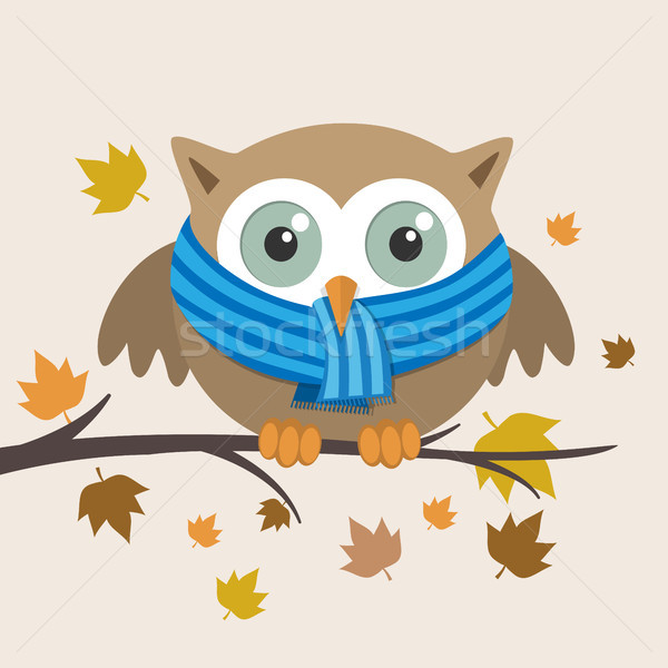 Male owl with scarf on a fall day Stock photo © Imaagio