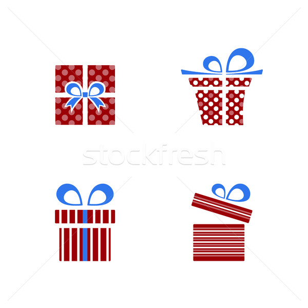 Red and blue gifts icon set on white background Stock photo © Imaagio