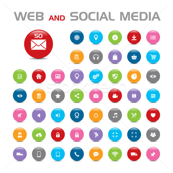 Photo stock: 50 · médias · sociaux · bulle · icônes · blanche · ordinateur