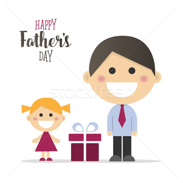 Happy fathers day card with a gift Stock photo © Imaagio