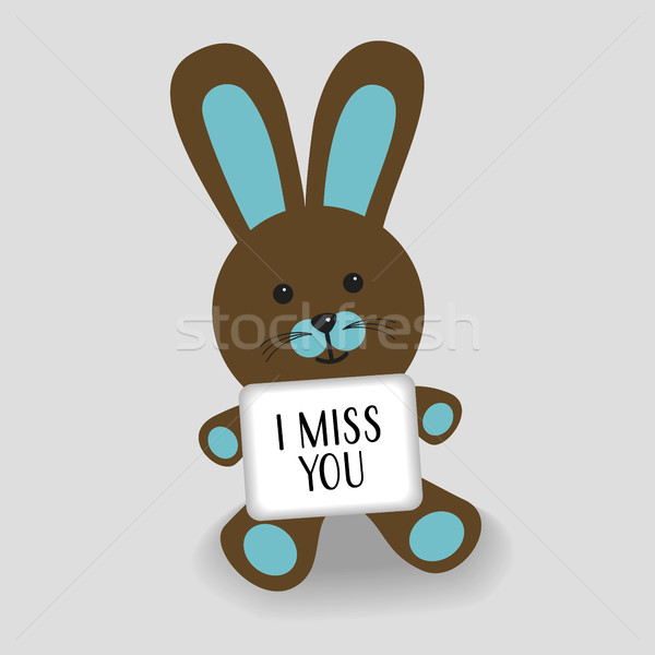 Blue bunny with message I miss you Stock photo © Imaagio