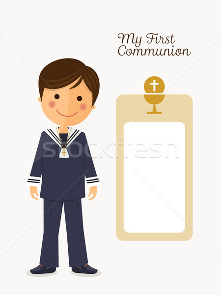First communion child on white background with message Stock photo © Imaagio