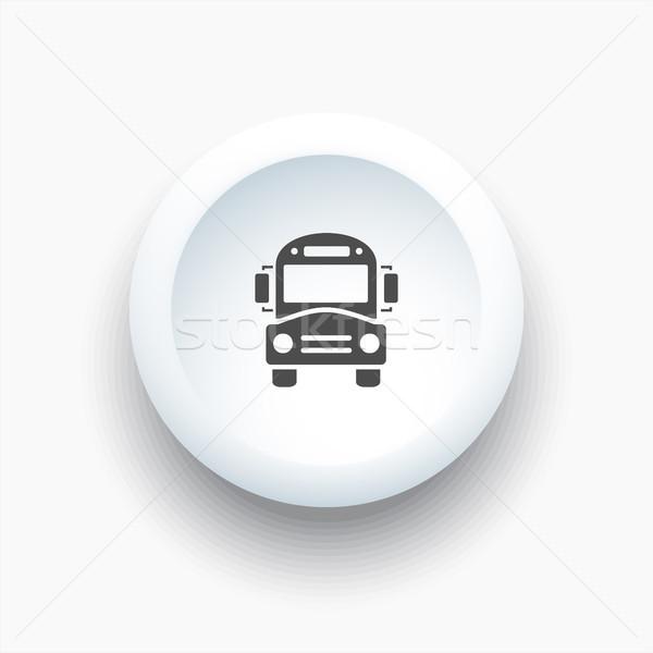 Bus school icon on a white button Stock photo © Imaagio