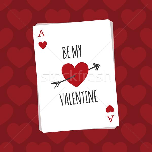 Mijn Valentijn spelen kaart harten liefde Stockfoto © Imaagio