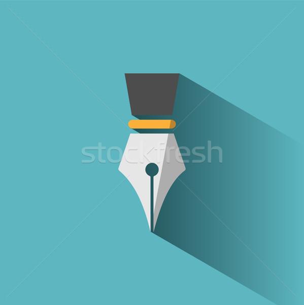 Caneta-tinteiro ícone sombra azul negócio escolas Foto stock © Imaagio