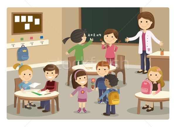Pupils and teacher starting class at school Stock photo © Imaagio