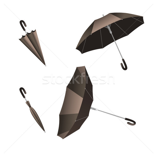 Isolated open and close umbrella. Inverted umbrella Stock photo © Imaagio