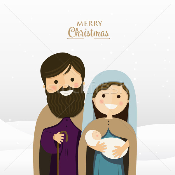 Merry Christmas greeting with Holy family Stock photo © Imaagio