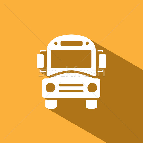 Bus school icon with shadow on yellow background Stock photo © Imaagio
