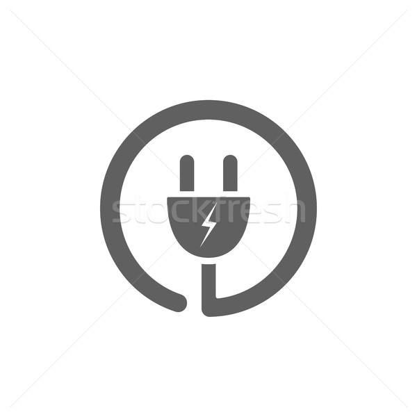 Plug icono blanco diseno signo web Foto stock © Imaagio