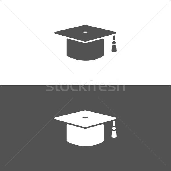 Icône blanc noir éducation signe étude graduation Photo stock © Imaagio