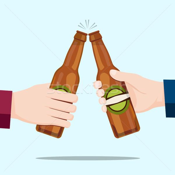 Сток-фото: люди · пива · бутылок · синий · воды