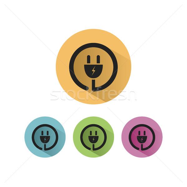 Plug icon with shadow on colored circles Stock photo © Imaagio