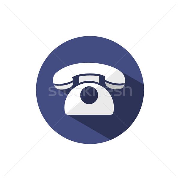 классический телефон икона тень темно синий Сток-фото © Imaagio