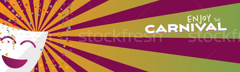 Bandeira desfrutar carnaval máscara estrelas confete Foto stock © Imaagio