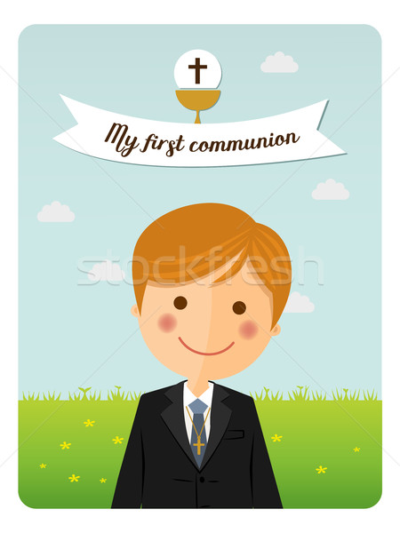 Child costume in her first communion dress vertical invitation with message on blue sky background Stock photo © Imaagio