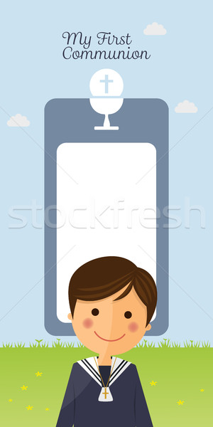 First communion child foreground on vertical card and blue sky background Stock photo © Imaagio
