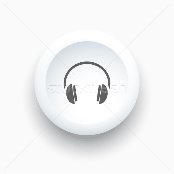 Headphones icon on a white button and white background Stock photo © Imaagio