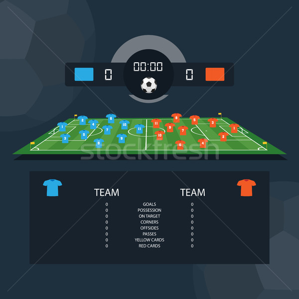 Soccer match scoreboard and statistics plan between two example teams. Flat design Stock photo © Imaagio