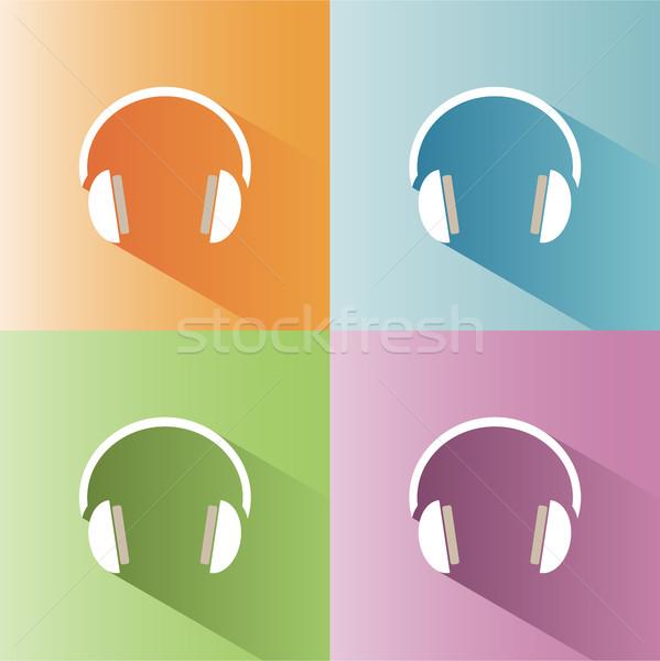 наушники икона оратора черный звук Сток-фото © Imaagio
