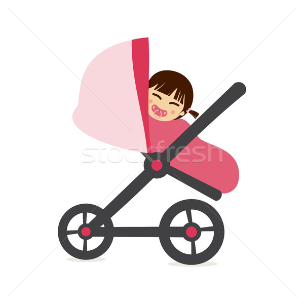 Baby girl on stroller Stock photo © Imaagio