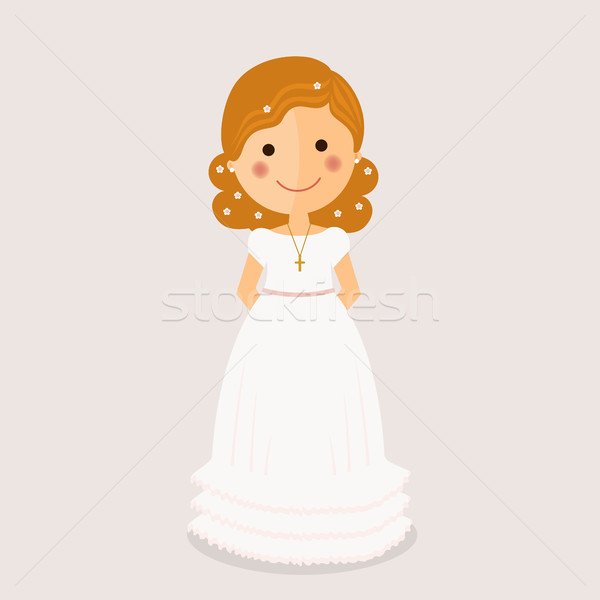 Girl communion with curly hair  Stock photo © Imaagio