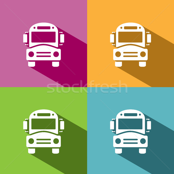 Bus school icon with shadow on colored backgrounds Stock photo © Imaagio