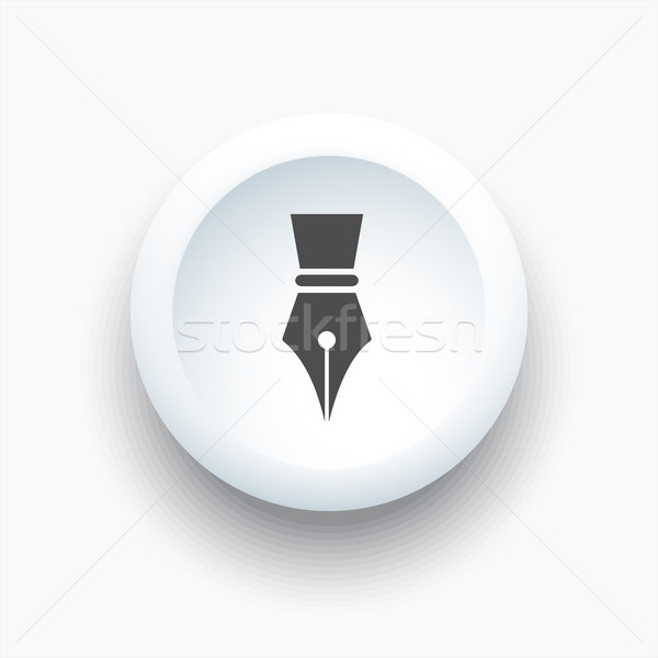 Fountain pen icon on a white 3D button Stock photo © Imaagio