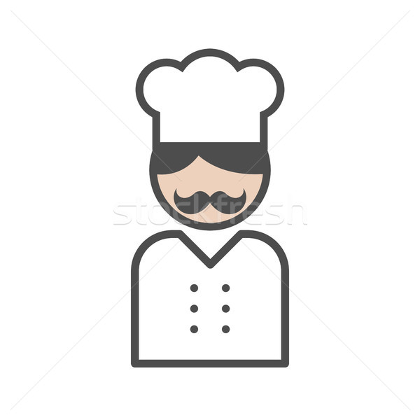 Chef icon with a moustache on white background Stock photo © Imaagio