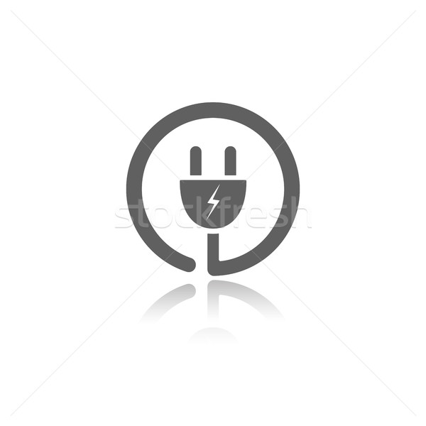 Plug icon with reflection on a white background Stock photo © Imaagio