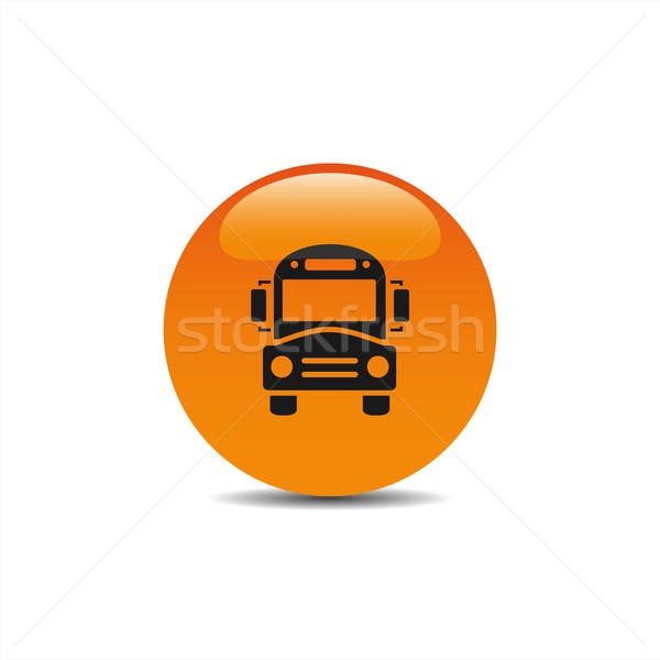 Bus school icon on an orange button Stock photo © Imaagio