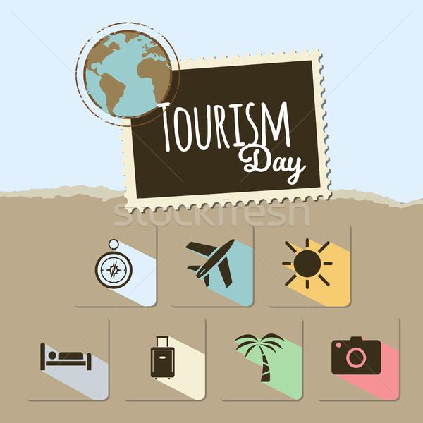 Stockfoto: Wereld · toerisme · dag · kaart · Blauw · bruin