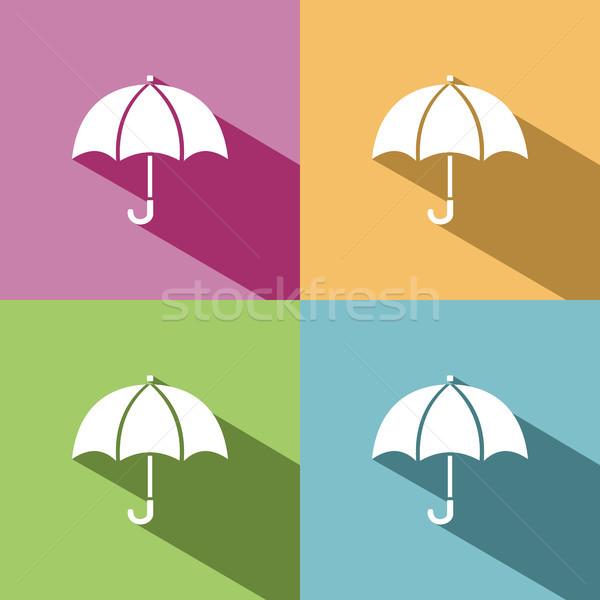 Umbrella icon with shade on colored background Stock photo © Imaagio