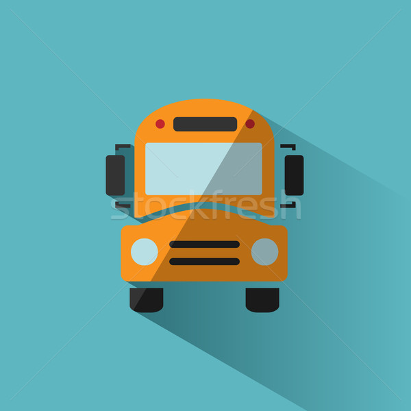 Bus school icon with shadow on blue background Stock photo © Imaagio
