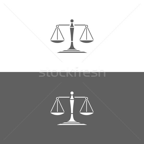 Scales of justice icon on white and dark backgrounds Stock photo © Imaagio