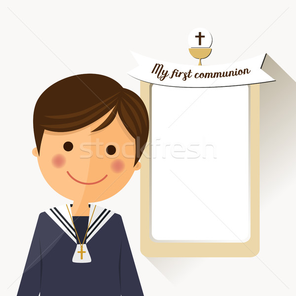 Première communion enfant premier plan un message illustration design Photo stock © Imaagio