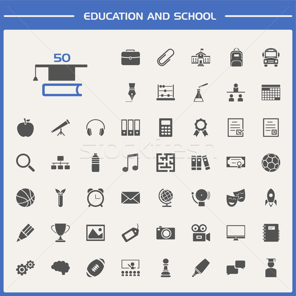 Education and school icon set Stock photo © Imaagio