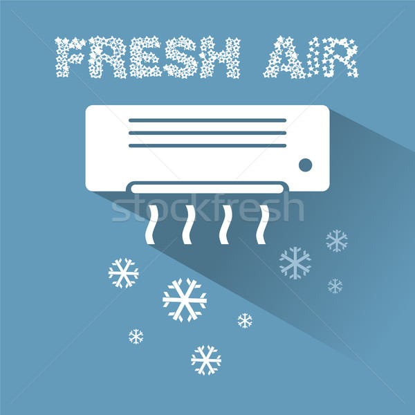 Air conditioner cooling icon with text Stock photo © Imaagio