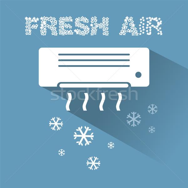Climatiseur refroidissement icône texte mur technologie Photo stock © Imaagio